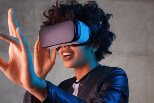 A consumer engaging with virtual reality. Photo by: CES / YouTube