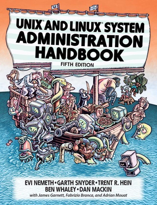 Unix and Linux System Administration Handbook book cover. Illustration by: Lisa Haney