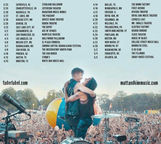 Matt and Kim tour dates for 2018. Photo by: Matt and Kim