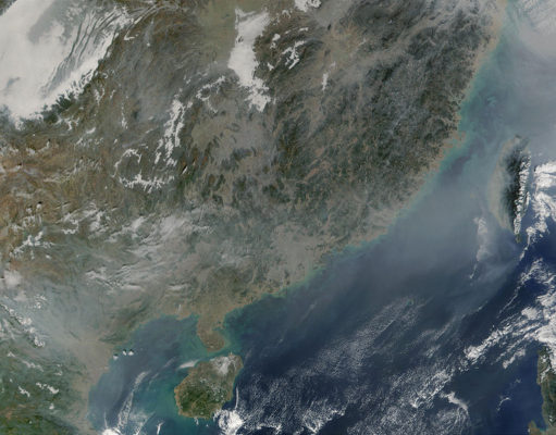 Fires and pollution in China. Photo by: NASA / Wikimedia Commons