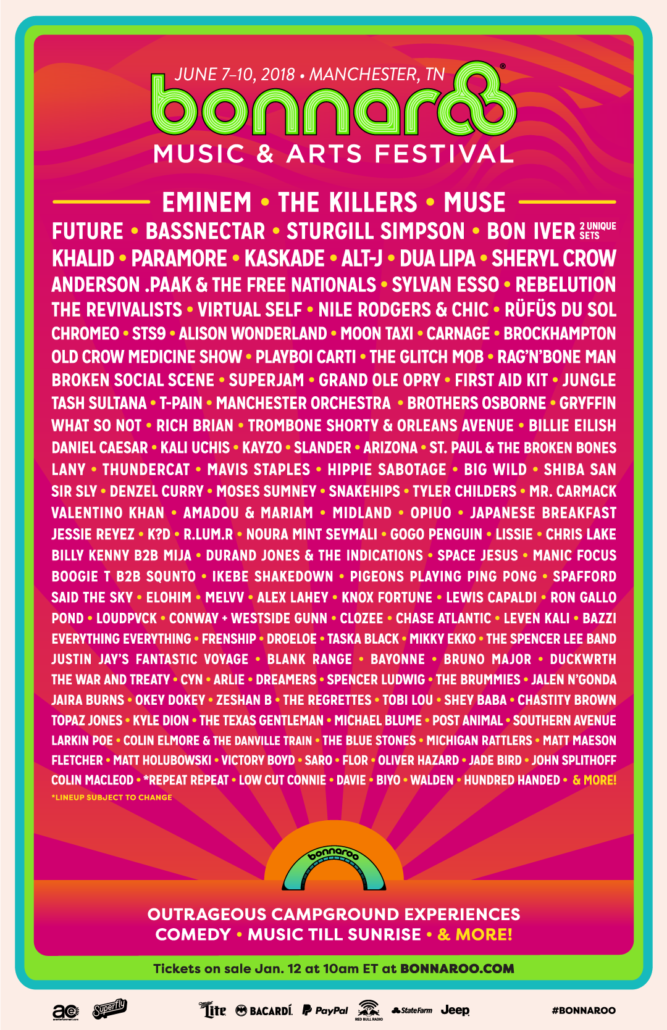 Bonnaroo Music Festival 2018 lineup. Photo provided.