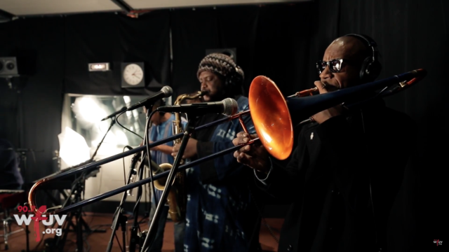 Kasami Washington and his live band. Photo by: WFUV / YouTube