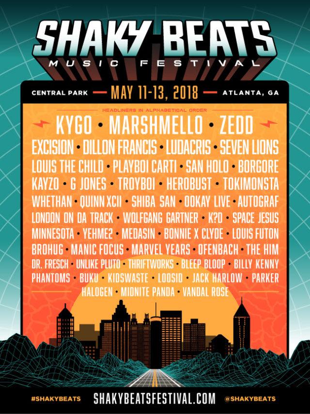 Shaky Beats Music Festival 2018 lineup. Photo provided.