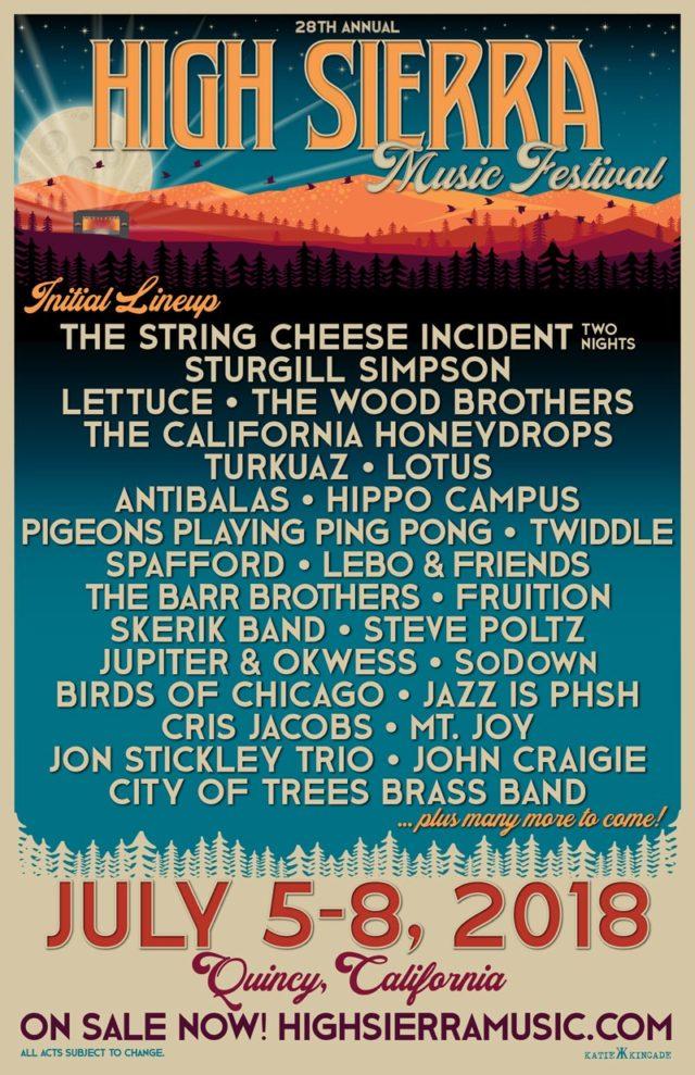 High Sierra Music Festival 2018 initial lineup. Photo by: High Sierra Music Festival