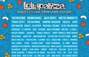 Lollapalooza 2018 lineup. Photo provided.