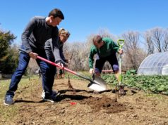 Residents around Longmont, Colorado help dig soil to plant new vegetation on Earth Day. Photo by: Matthew McGuire
