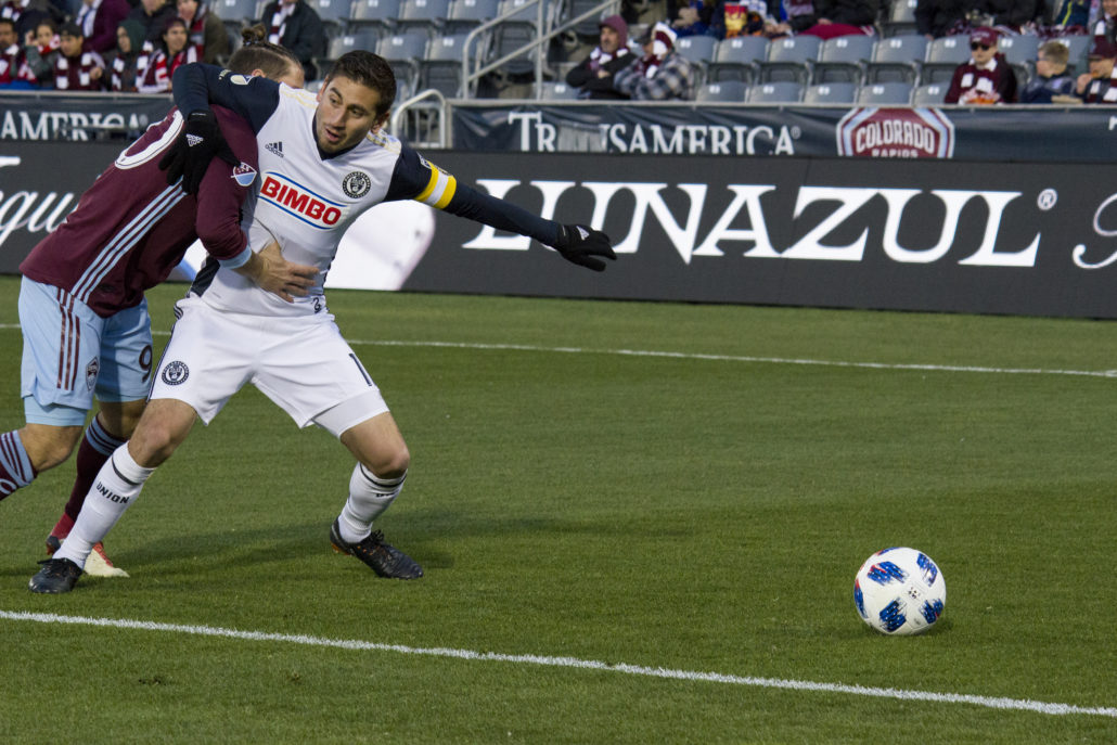 Philadelphia Union and the Colorado Rapids square off at Dick's Sporting Goods Park on Saturday, March 31, 2018. Photo by: Matthew McGuire