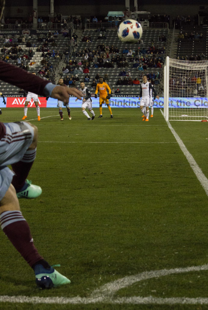 Colorado Rapids move into position with a corner kick against the Philadelphia Union at Dick's Sporting Goods Park on Saturday, March 31, 2018. Photo by: Matthew McGuire