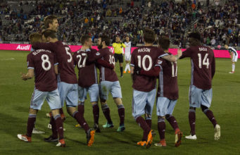 Colorado Rapids celebrating a goal against the Philadelphia Union. Photo by: Matthew McGuire