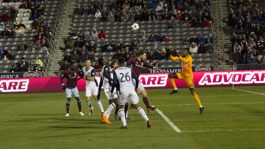 Andre Blake, goalkeeper for the Philadelphia Union, going up for the ball during a game at Dick's Sporting Gods Park. Photo by: Matthew McGuire