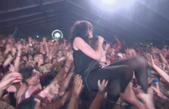 St. Vincent crowdsurfing at Coachella 2012. Photo by: Coachella / YouTube