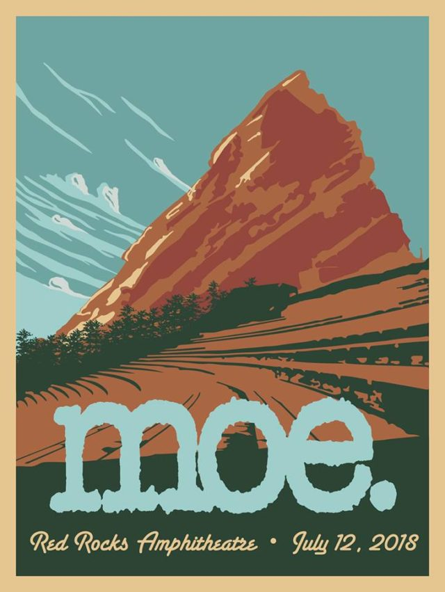 Moe. at Red Rocks 2018 poster. Photo by: Moe.