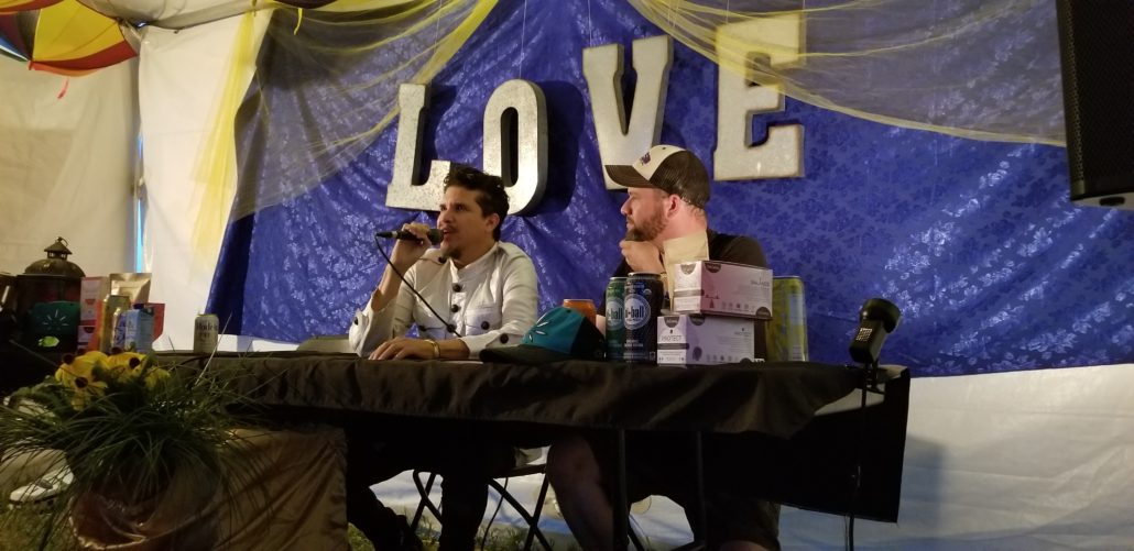 Rob Garza of Thievery Corporation speaking at a press conference at ARISE Music Festival 2018. Photo by: Matthew McGuire