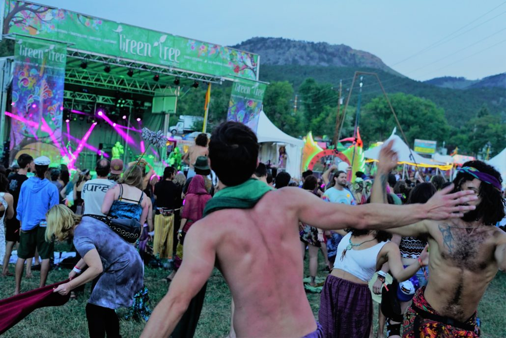 Guests dancing and celebrating at the Green Tree Stage. Photo by Samantha Harvey