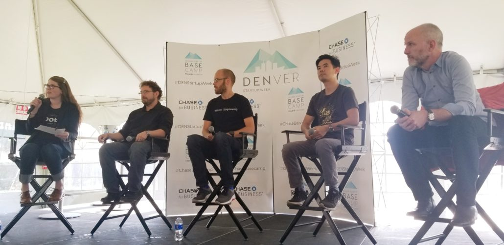 Denver Startup Week presents a live discussion on business development in Colorado. Photo taken on Tuesday, September 25 by Matthew McGuire.