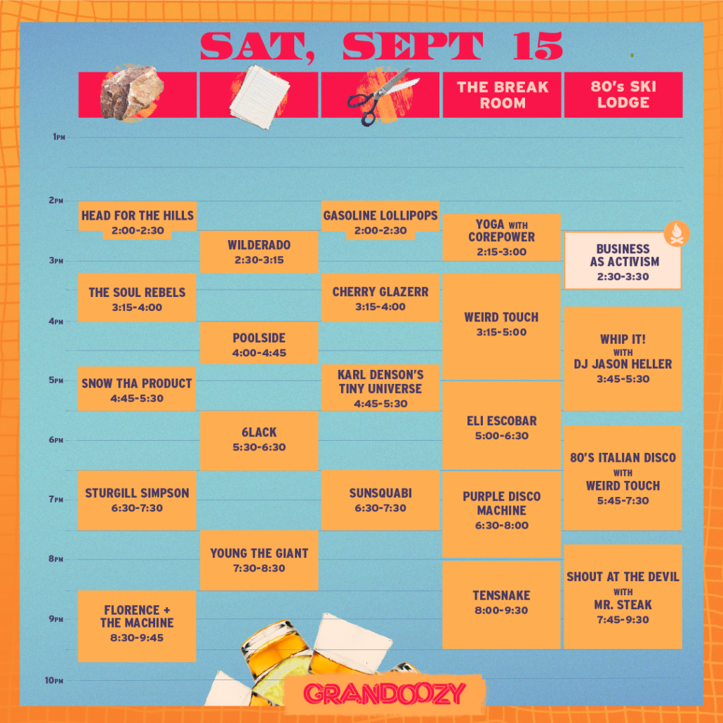 Grandoozy 2018 - Saturday Schedule. Photo provided.
