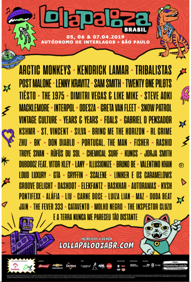 Lollapalooza Brazil 2019 lineup. Photo provided.