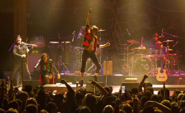 Gogol Bordello performing at the Ogden Theatre on 12/29/18. Photo by: Matthew McGuire