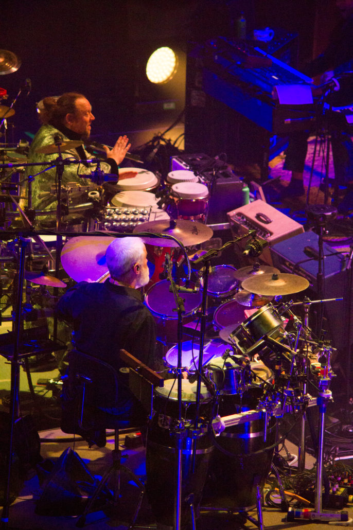 Michael Travis and Jason Hann performing with The String Cheese Incident on 12/31/18 at the 1st Bank Center in Broomfield, Colorado. Photo by: Matthew McGuire